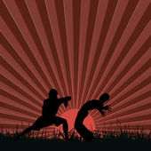 Kung fu at sunset — Wektor stockowy