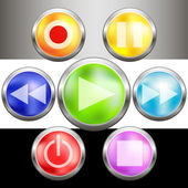 Colorful metal buttons set — Vector de stock