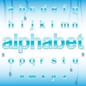 Cute glossy blue alphabet with drops — Stock Vector