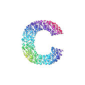 Circle rainbow letter C — Stock Vector
