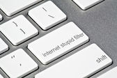 Custom Funny Stupid Filter Button — Stock Photo