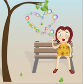 Garden with hearts bubbles and girls on bench. — Stock Vector