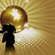 Stock Vector: Background with girl, disco-ball.