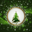 Christmas tree in a bright circle on green background. — Stock Vector #15438289