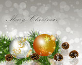 Christmas balls with fir branches. — Stock Vector