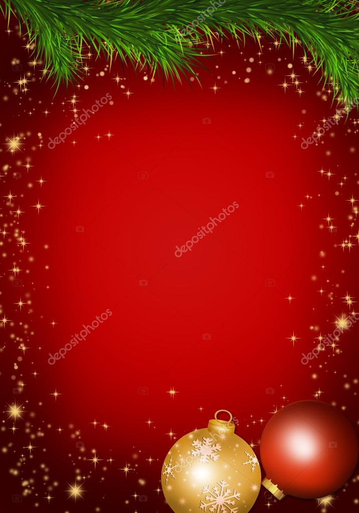 Christmas background with balls and fir branches.  Stock Vector #17594315