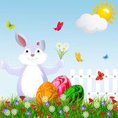 Cartoon happy rabbit for Easter . — Foto de Stock