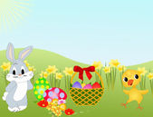 Easter bunny, chicken and eggs on meadow with flowers. — Stock Photo