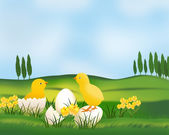 Easter landscape with chickens. — Stockvektor