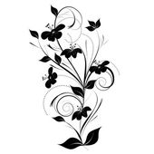 Black and white flowers. — Stock Vector