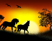 Silhouettes of horses at sunrise. — Stock Vector