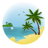 Tropical beach. — Stock Vector