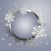 Christmas metal frame with snowflake. — Stock Vector