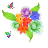 Flowers and butterflies. — Stock Vector