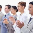 Close-up of business smiling and applauding — Stock Photo