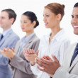 Close-up of a business team applauding — Stock Photo #13900533