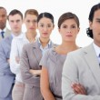 Big close-up of determined colleagues in a single line - Stock Photo