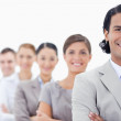 Big close-up of a happy business team in a single line looking s — Stock Photo