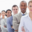 Close-up of a business team crossing their arms in a single line — Stock Photo #13900724