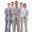 Smiling business team crossing their arms — Stock Photo