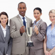Stock Photo: Close-up of business team holding cup