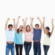 Customers raising their arms — Stock Photo #13906180