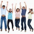 Customers jumping for joy — Stock Photo