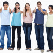 Customers approving with their thumbs-up — Stock Photo