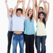 Smiling together and raising their arms — Stock Photo