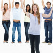 In jeans with their arms raised — Stock Photo