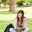 Stock Photo: Teenager sitting while reading textbook