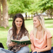 Stock Photo: Two teenagers sitting with textbook