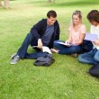 High angle-shot of three students in a park — Stock Photo