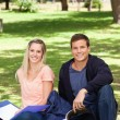 Portrait of two students in a park — Stock Photo #13906637