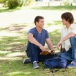 Stock Photo: Portrait of two male students talking