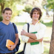 Close-up of two standing male students — Stock Photo