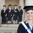 Close-up of a blonde graduate — Stock Photo