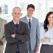 Smiling business team standing in front of a bright window — Stock Photo #13908901