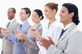 Close-up of happy business applauding — Stock Photo