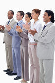Business smiling and applauding — Stock Photo