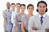 Big close-up of determined colleagues in a single line — Stock Photo