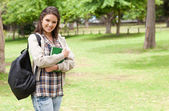 Young student holding textbook — Stock Photo