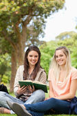 Cute teenagers sitting while studying with a textbook — Stock Photo