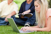 Close-up of a girl using a netbook while lying in a park — Stock Photo
