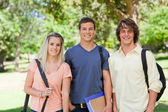 Portrait of Three students side by side — Stock Photo