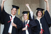 Graduates holding their diploma while raising arm — Stock Photo