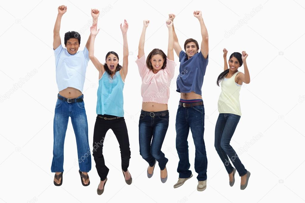 Customers jumping for joy against white background — Stock Photo #13906182