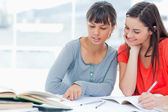 Two girls help one another as they study — Foto Stock