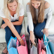Stock Photo: Smiling pair of girls looking at shopping