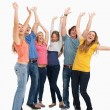 A jumping happy group cheering — Stock Photo